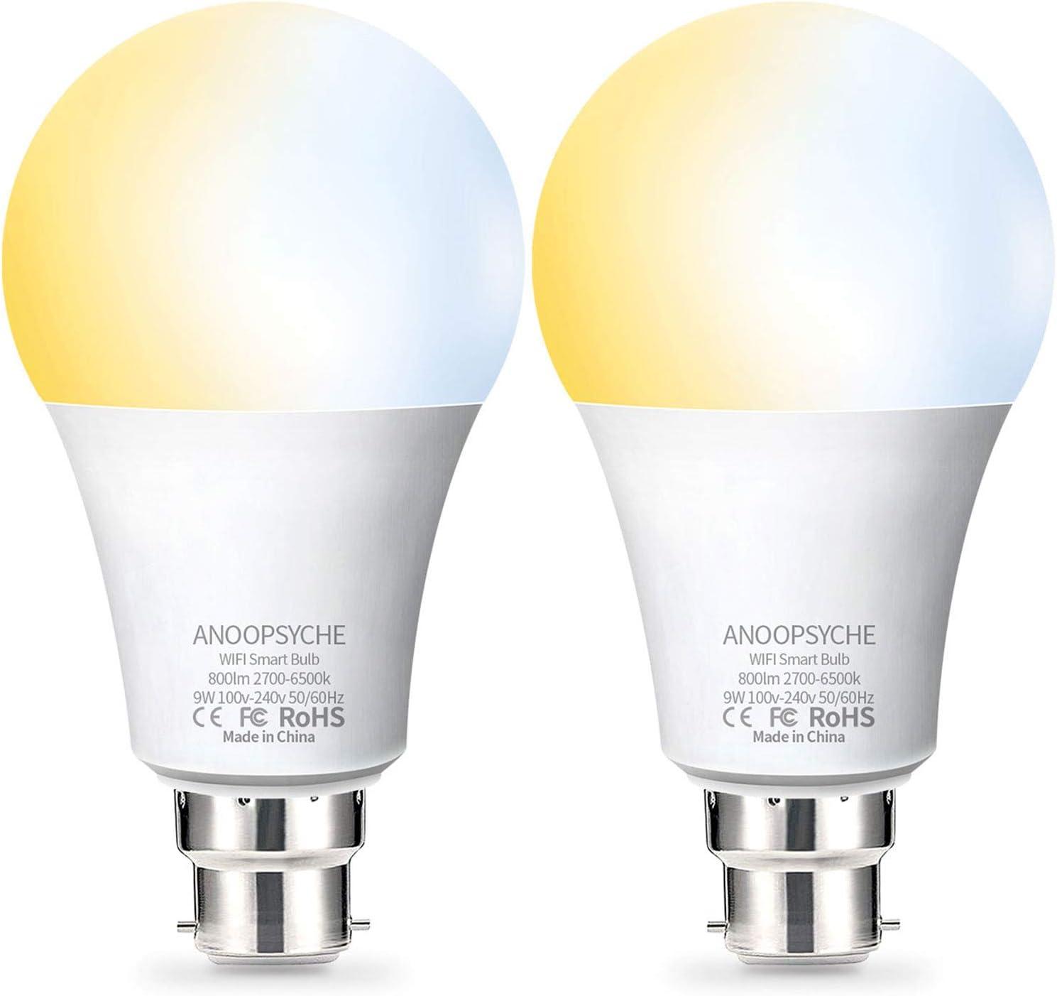 Fitop Warm//Cool and Colour Light, WiFi Smart Bulbs Alexa Light Bulb B22 Bayonet