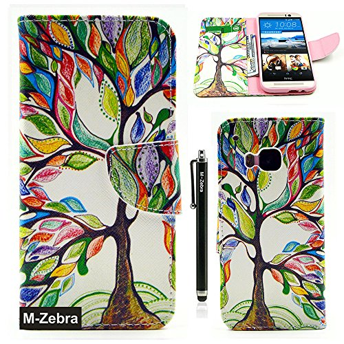 Htc Flip Phone (M9 Case,HTC One M9 Wallet Case, M-Zebra Printed Series Light Color Design PU Leather Stand Wallet Type Magnet Design Flip Case Cover For HTC One M9, with Screen Protectors+Stylus+Cleaning Cloth (Colorful Tree 1))