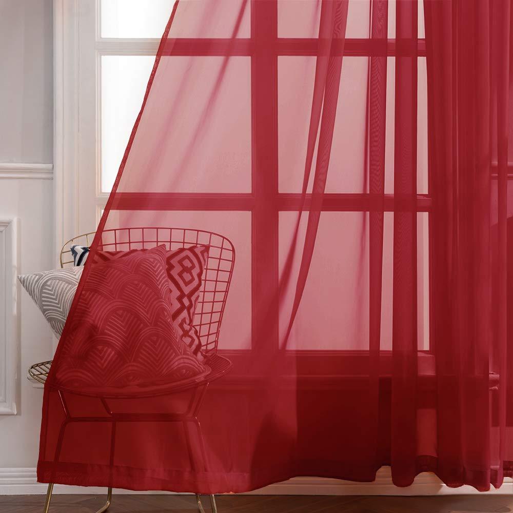 MIULEE 2 Panneaux Couleur Pure Rideaux De Fen/être Transparents Lisse /Él/égant Panneaux Voile De Fen/être//Rideaux//Traitement pour Chambre Salon Tige de Poche 140x145cm Beige