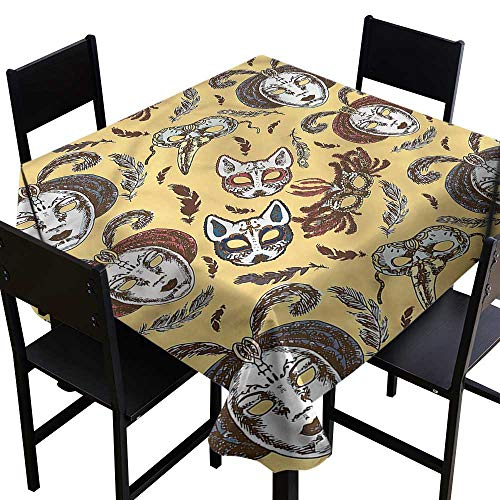 haommhome Wrinkle Resistant Tablecloth Masquerade Venetian Mask Feathers and Durable W60 xL60 for Kitchen Dinning Tabletop Decoration - Deluxe Venetian Mask