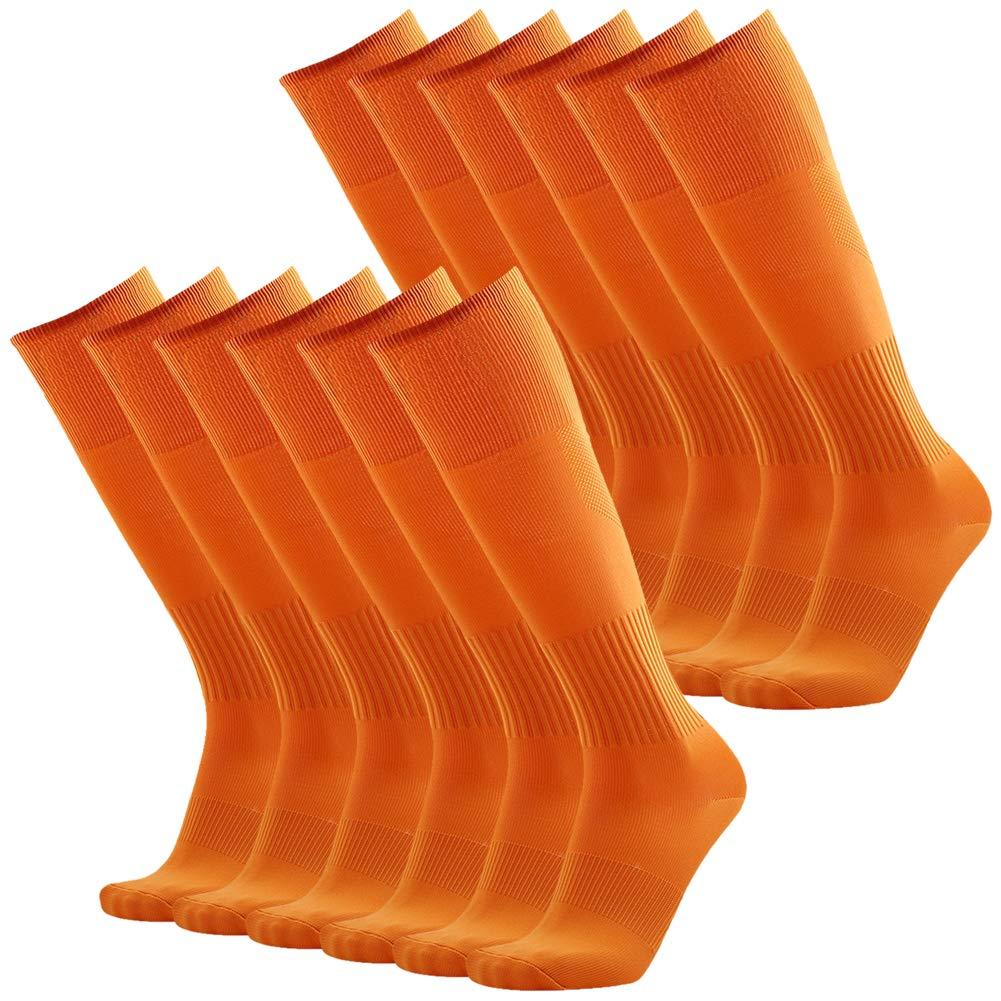 Knee High Soccer Socks Orange, Three street Unisex Youth Solid Long Compression Sport Tube Soccer Running Cycling Baseball Football Tube Socks Orange 12 Pairs by Three street