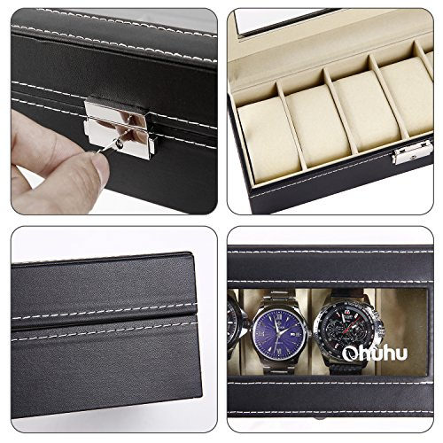Ohuhu Watch Organizer, 6 Slot Watch Box PU Leather Watches Storage Case Lock Key by Ohuhu (Image #5)