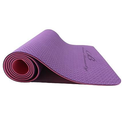 Alfombrilla para yoga o ejercicios de 1/4 pulgadas con correa de transporte y bolso de Lover Beauty.