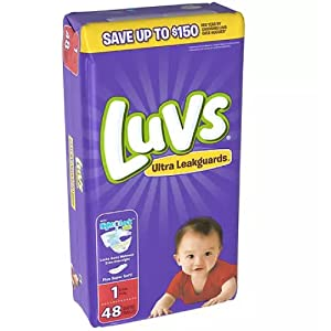 Luvs Ultra Leakguards Disposable Baby Diapers, Size 1, 48 Count (Packaging May Vary)