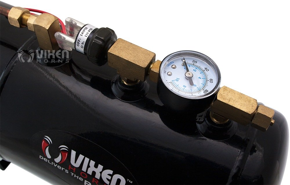 Vixen Horns Loud 135dB 3/Triple Chrome Trumpet Train Air Horn with 1 Gallon Tank and 150 PSI Compressor Full/Complete Onboard System/Kit VXO8410/3311C by Vixen Horns (Image #8)
