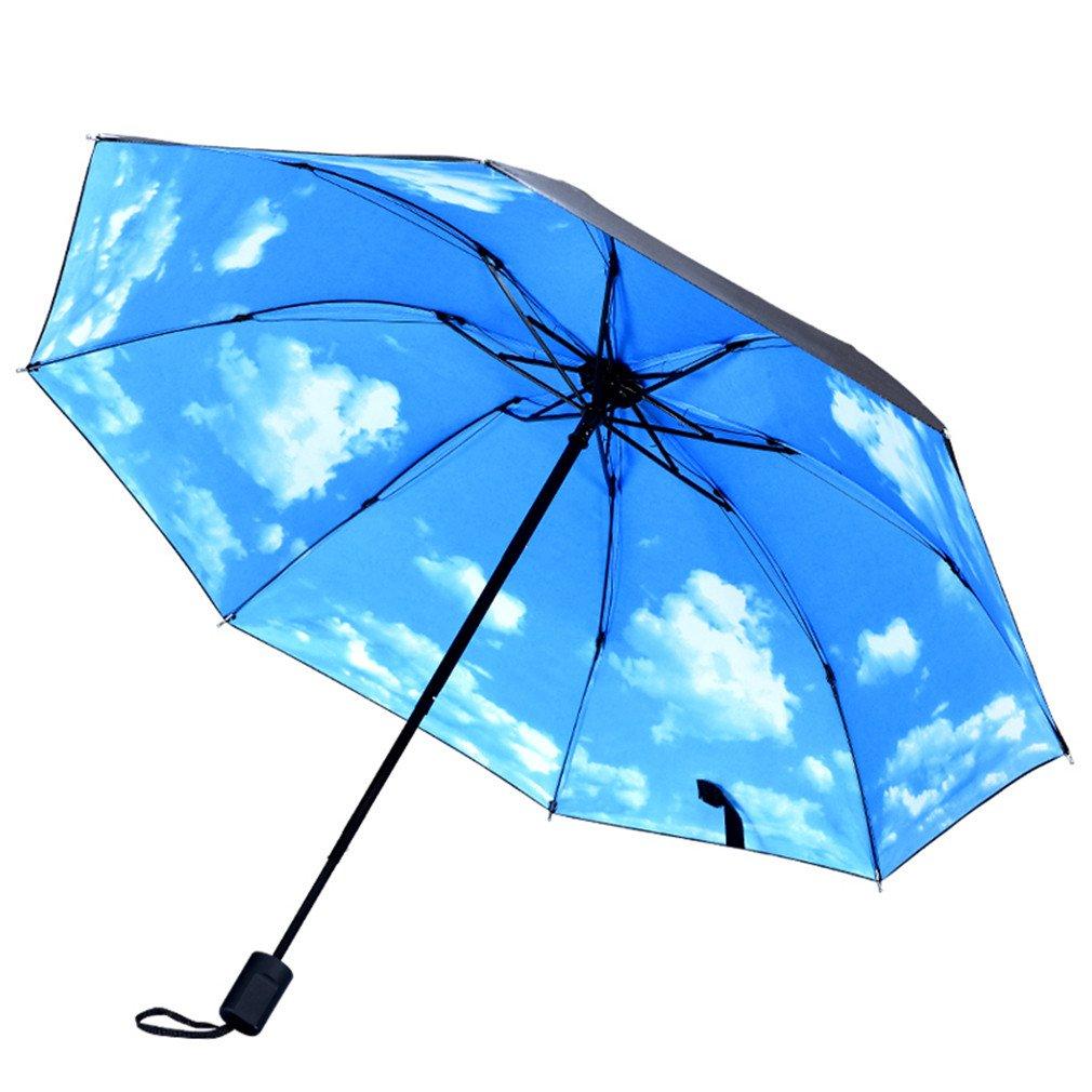 Guoke Umbrellas Sunscreen Uv Resistant Vinyl Umbrellas Folding Umbrella With Two Fine Rain, White Clouds In The Blue Sky -