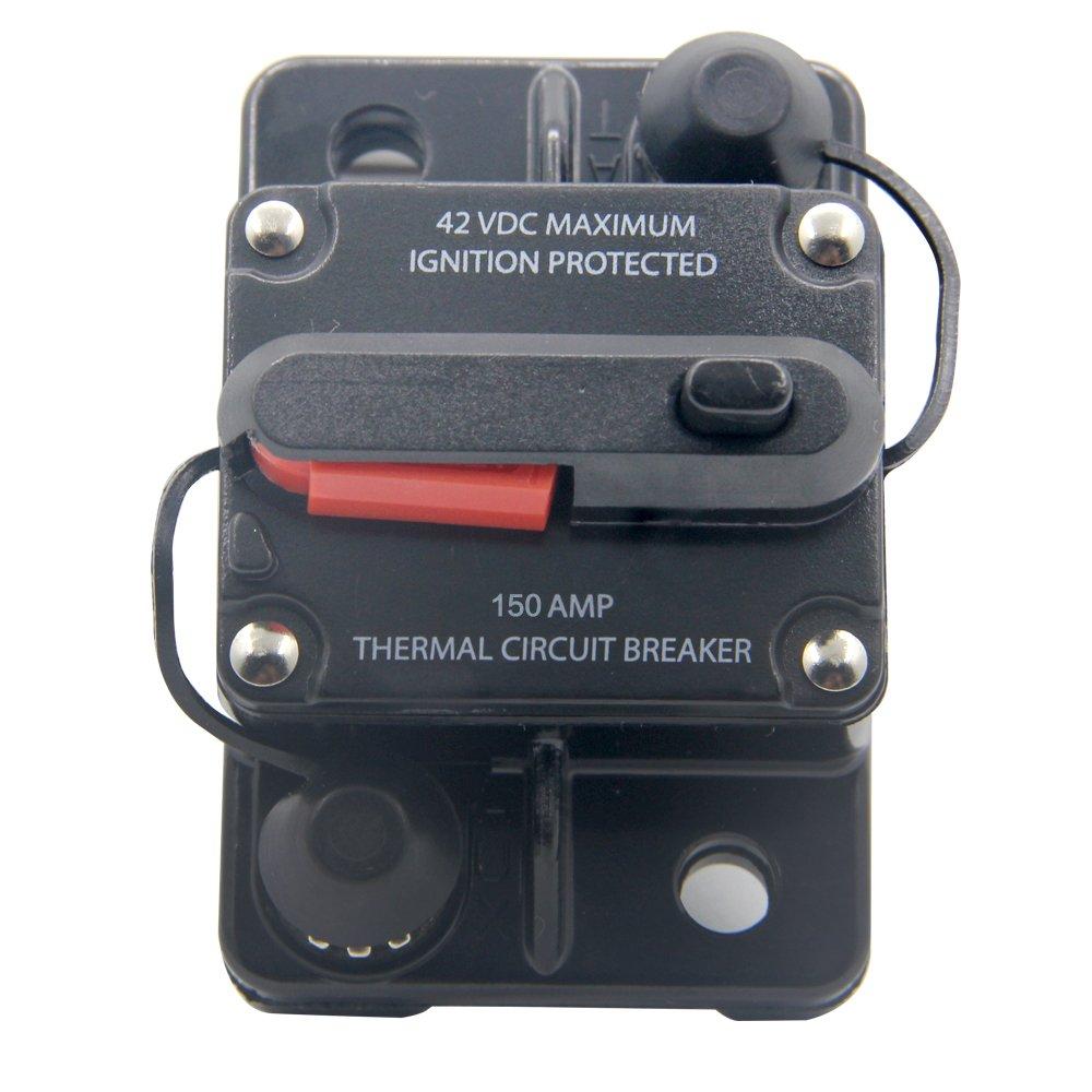 RKURCK 12 V – 42 V CC 50 A interruptor de circuito de reinicio manual, soporte de fusibles para coche automoción barco marino audio 50 Amp soporte de fusibles para coche automoción barco marino audio 50 Amp