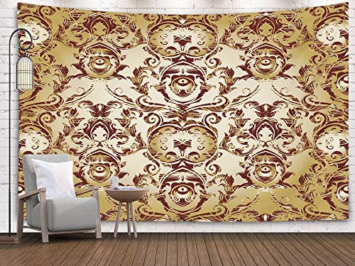 Shorping Art Tapestries, 80x60Inches Hanging Wall Tapestry for Décor Living Room Dorm Floral Pattern Antique Damask Background Wallpaper with Vintage Flowers Scroll Leaves Swirls line Art tracery