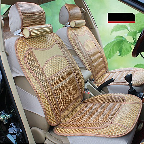 Amooca Airbag Compatible Universal Full Set herbal medicine Papyrus Bamboo Slip-proof Front Rear Car Seat Cushion Cover For Summer 8pcs