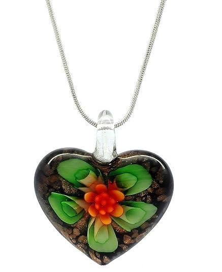 5adbbbc0ea51 Decorativo motivos florales verde y naranja Diseño de flores de cristal con  forma de corazón Love