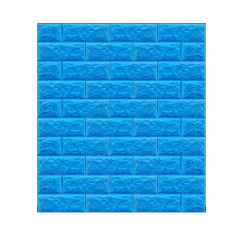 3D立体壁紙 DIYレンガ調壁紙シール 70x77CM ウォールステッカー 軽量レンガシール 壁紙シール 自己粘着 防水 多色選択 (70*77cm(10枚入れ), ブルー) B071FB76X4 70*77cm(10枚入れ)|ブルー ブルー 70*77cm(10枚入れ)