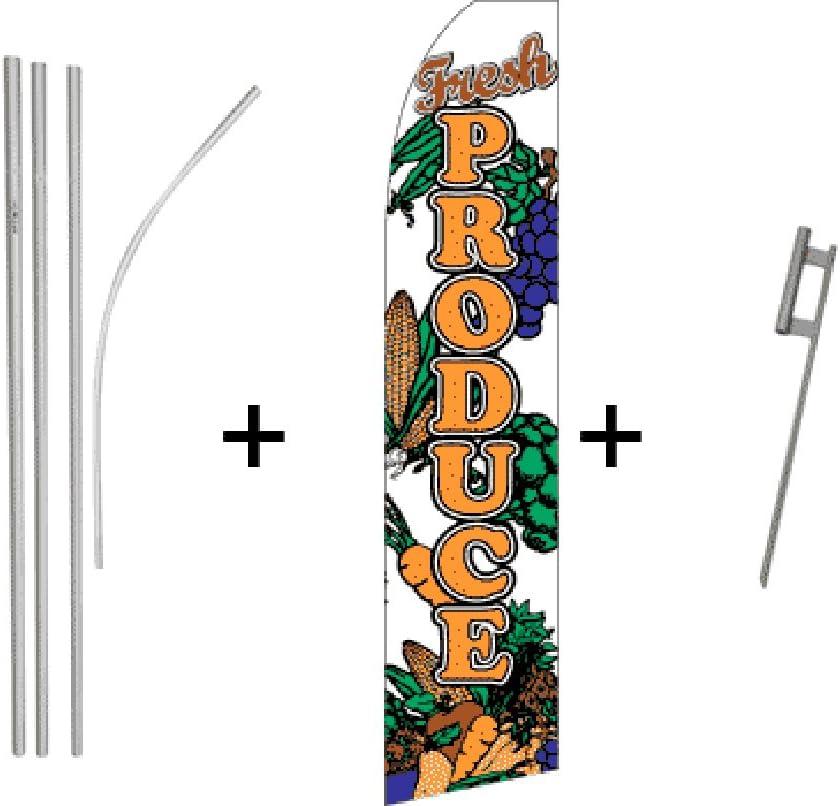 Fresh Produce Quantity 2 Super Flag /& Pole Kits
