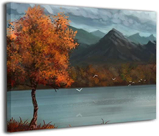 CANVAS FRAMED WALL ART PRINT OF COLOURFUL NATURE LANDSCAPE MOUNTAIN SCENERY