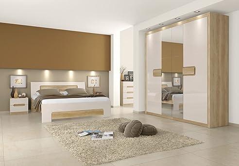 Schlafzimmer Komplett - Set A Satalo, 5-Teilig, Farbe: Eiche Braun