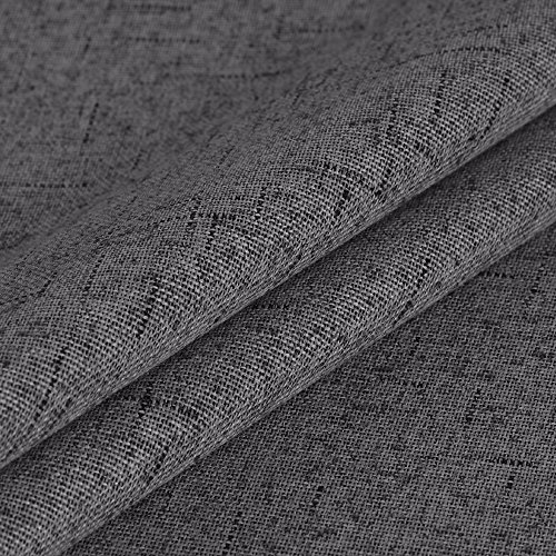 H.VERSAILTEX 100% Blackout Draperies Patio Waterproof Linen Look Blackout Curtains Bedroom Extra Long 108 Inches Grommets Window Curtain Panels Grey Color, 2 Panels