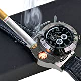 Electronics Best Deals - Ckeyin ® Sporty wristwatch Quartz Watch with USB Electronic Rechargeable Windproof Flameless Cigarette Lighter Valentines Gift (black)