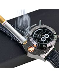 Ckeyin ® Sporty wristwatch Quartz Watch with USB Electronic Rechargeable Windproof Flameless Cigarette Lighter Valentines Gift (black)
