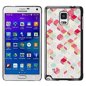 X-ray Impreso colorido protector duro espalda Funda piel de Shell para Samsung Galaxy Note 4 IV / SM-N910F / SM-N910K / SM-N910C / SM-N910W8 / SM-N910U / SM-N910G - Polygon Pattern Pink Teal 3D Lines Classy