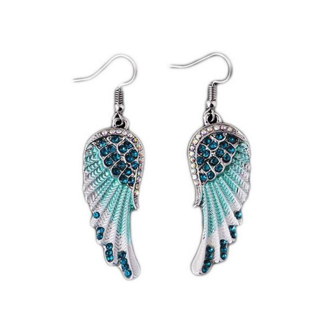 Silver Tone Leaves w Turquoise Glass Ball Beads Long Drop//Dangle Earrings UK