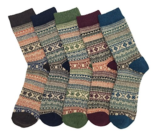 Men's Warm Colorful Winter Socks (5 Pairs) (Stripes)