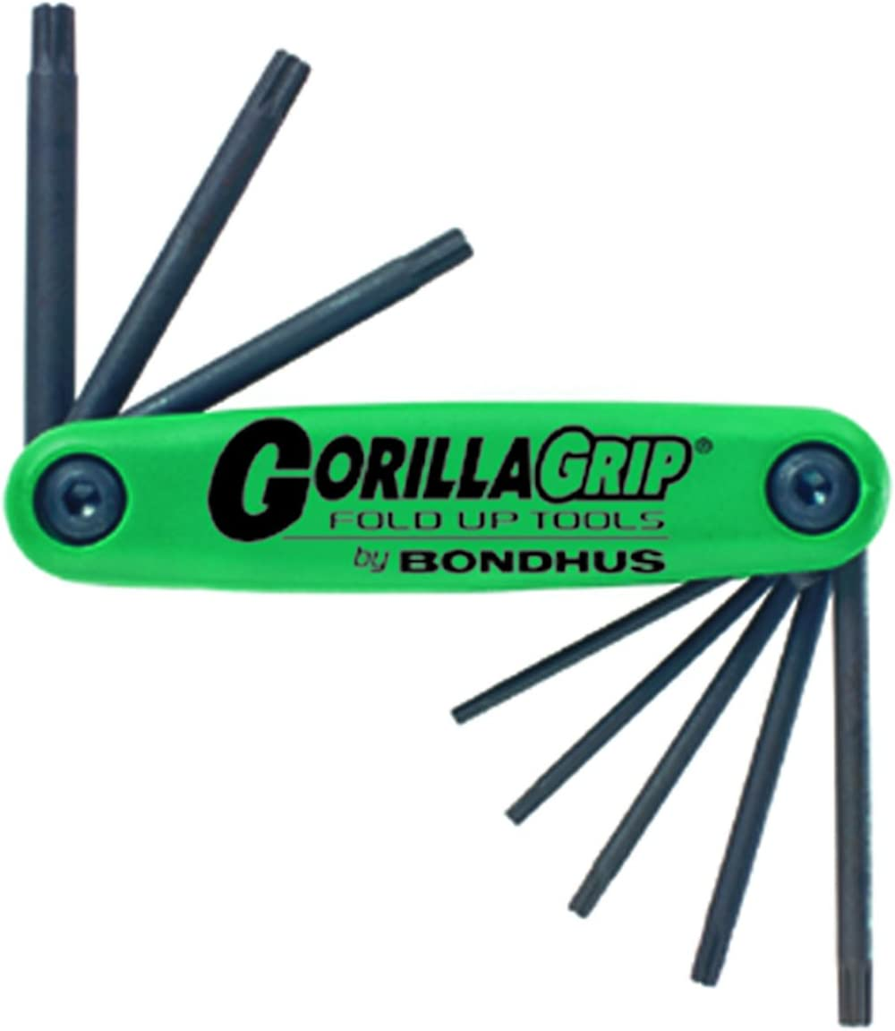 Bondhus 12634 GorillaGrip Set of 8 Star Fold-up Keys, sizes T9-T40