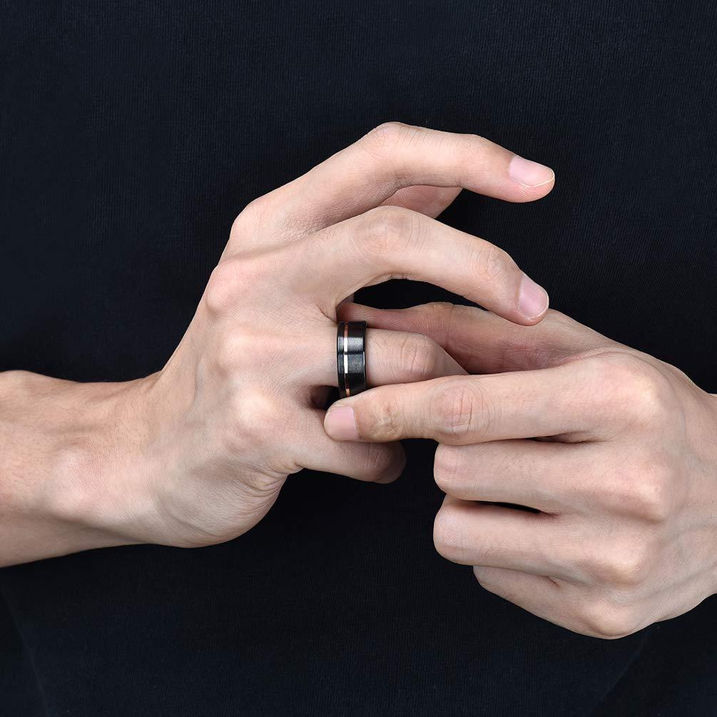Three Keys Jewelry Mens 8mm Black Zirconium Wedding Band Textured ...