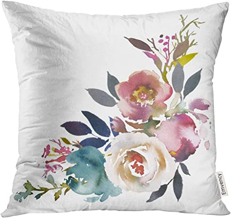 Virsaa Throw Pillow Cover Navy Anemone