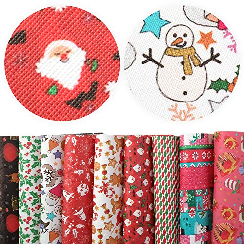 David accessories Christmas Snow Gifts Printed Leather Sheets Fabric Canvas Back 9Pcs 8 x 13 (20cm x 34cm) for Making Bags Crafting DIY Sewing Festival Decor (Christmas Pattern C)