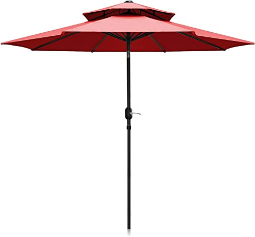 Patiassy Heavy Duty 600D 240 Gsm Solution-dyed Fabric Outdoor Patio Umbrella with Umbrella Cover 9 Ft Double Top Patio Table Market Umbrella with Crank and Push Button Tilt, 8 Sturdy Ribs, Red