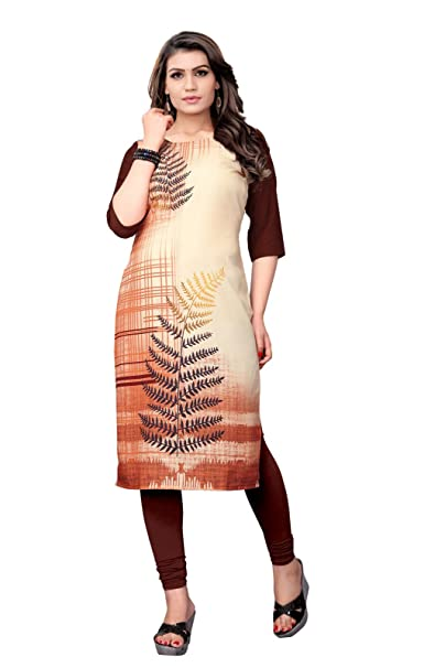 c1bdc909fa6 Belomoda Brown Color Heavy American Crepe Fabric 3 4 sleeve Round Neck  Digital Print Kurti For Women  Amazon.in  Clothing   Accessories