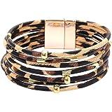 MUDEREK Women Leopard Bracelet Metal Pipe Charm Multilayer Wide Leather Wrap Bangle Gift Bangle