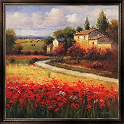 Tuscan Summer by Ben Harris Framed Art Print Wall Picture, Walnut Brown Frame with Hanging Cleat, 38 x 38 inches