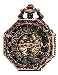 SEWOR Octagon Red Copper Skeleton Pocket Watch Bat style Steampunk Mechanical Hand Wind