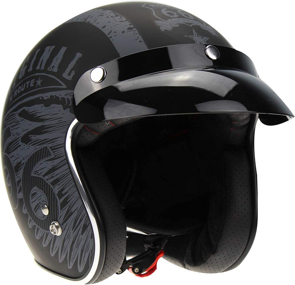 Viper RS-05 Slim Fit Open Face Scooter Motorcycle Mod Retro Helmet Route 66