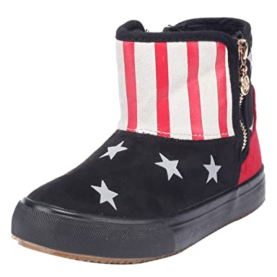 2015 NEW D.s.mor Little Kid Stylish Star Side Zipper Snow Boots Winter Shoes (2.5 M, Black)