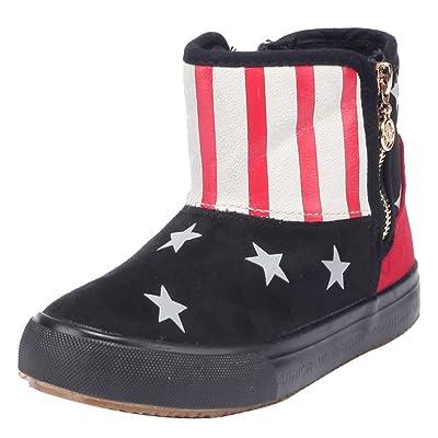 2015 NEW D.s.mor Little Kid Stylish Star Side Zipper Snow Boots Winter Shoes (2.5 M, Black)