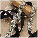 Yanstar Handmade Wedding Bridal Belts and Sashes Silver Crystal Rhinestone Black Ribbon Belt for Wedding Bridesmaid Prom Gowns
