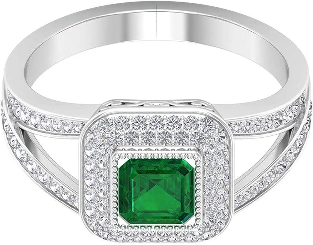 Anillo solitario de esmeralda creado en laboratorio de 0,5 ct, 0,56 ct certificado SGL, anillo de boda con halo de diamante, 18K Oro