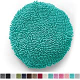 "Gorilla Grip Original Shag Chenille Bath Rug Toilet Lid Cover, 19.5"" x 18.5"" Large Size, Machine Washable, Ultra Soft Plush Fabric Covers, Fits Most Size Toilet Lids for Bathroom (Turquoise)"
