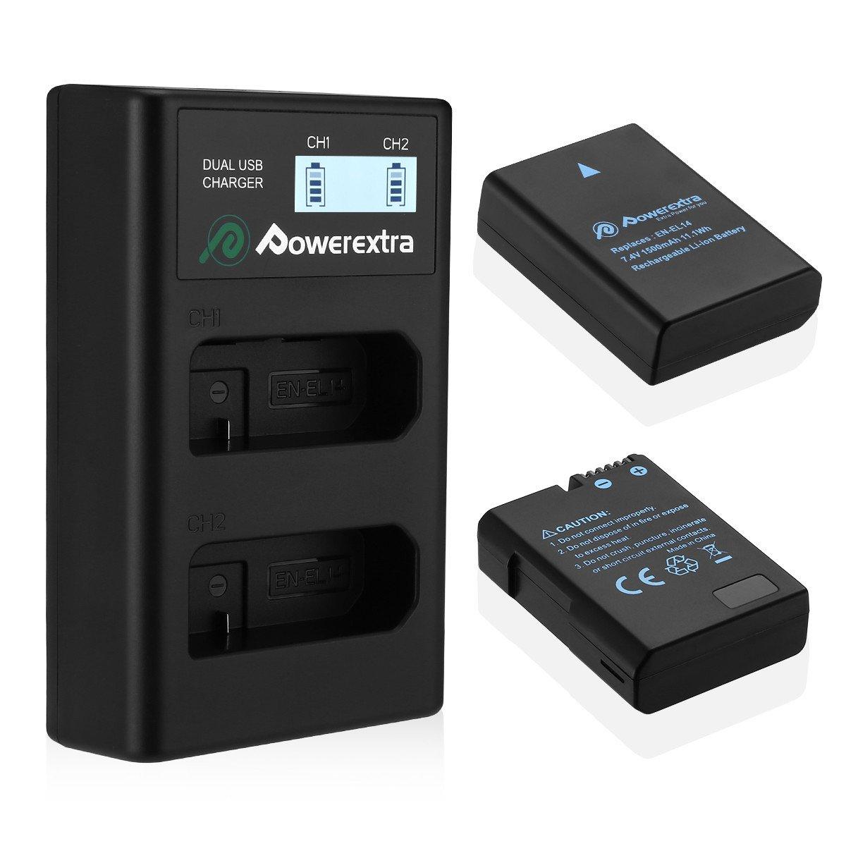 Powerextra Caricabatteria e 2x Batteria EN-EL14 EN-EL14a, Batterie e Doppio Caricatore LCD Rapido per Nikon D3100 | D3200 | D3300 | D3400 | D5100 | D5200 | D5300 | D5500 | D5600 | Df | P7000 | P7100 | P7700 | P7800