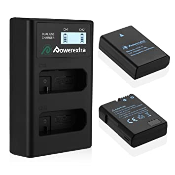 Powerextra Batería Nikon EN EL14 y EN-EL14a con Cargador Inteligente Pantalla LCD para Nikon P7000 P7100 P7700 P7800 D3100 D3200 D3300 D5100 D5200 ...