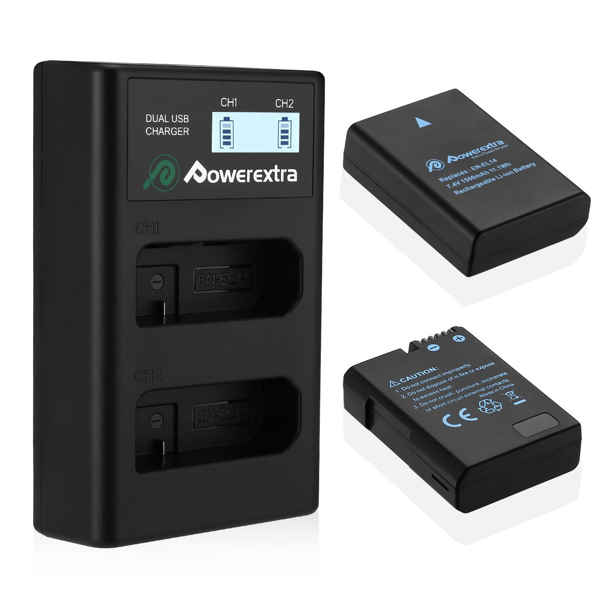 Powerextra Baterías Nikon EN EL14 y EN-EL14a de Repuesto con Cargador Inteligete Pantalla LCD para Nikon P7000 P7100 P7700 P7800 D3100 D3200 D3300 D5100 ...