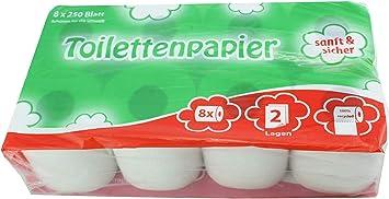 Toilettenpapier Klopapier WC Kleinrollen 2-lagig weiß 250 Blatt 64 Rollen Topa