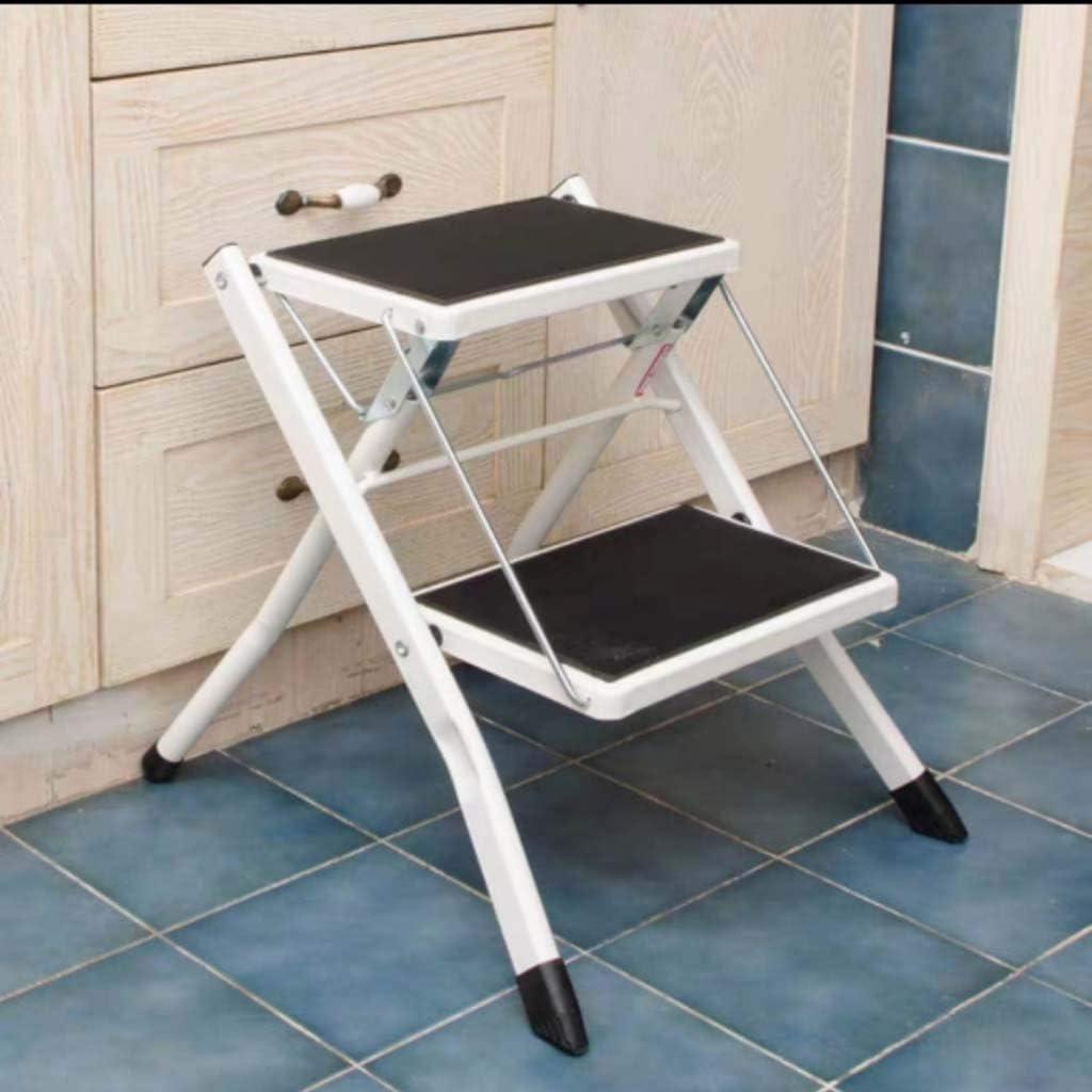 Escalera de 2 peldaños, plegable, antideslizante, escalera compacta y portátil para casa, oficina, cocina, garaje, blanco: Amazon.es: Bricolaje y herramientas