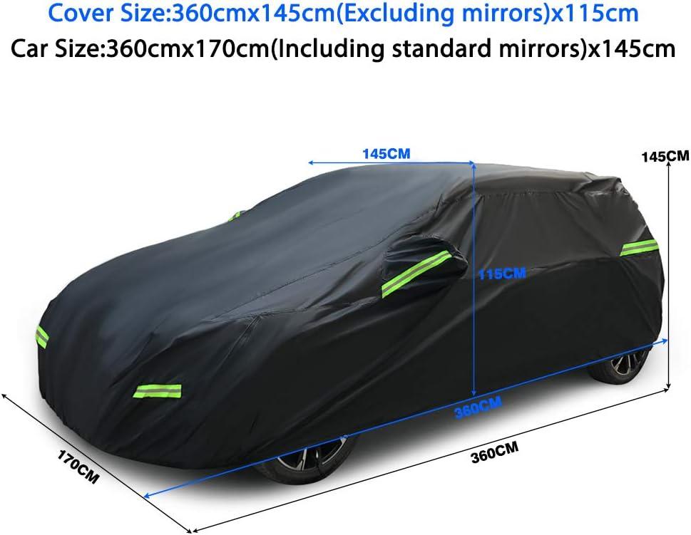 Neverland Auto Abdeckplane Autoabdeckung Autogarage Winter Wasserdicht 420d Oxford Stoff Atmungsaktiv Kombi Vollgarage Phosphoreszierend Schwarz S 360x170x155cm Ca 2 09kg Auto