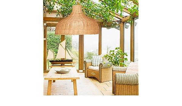 CQLAN Lámpara de araña de bambú Vintage jardín Creativo lámpara de ...
