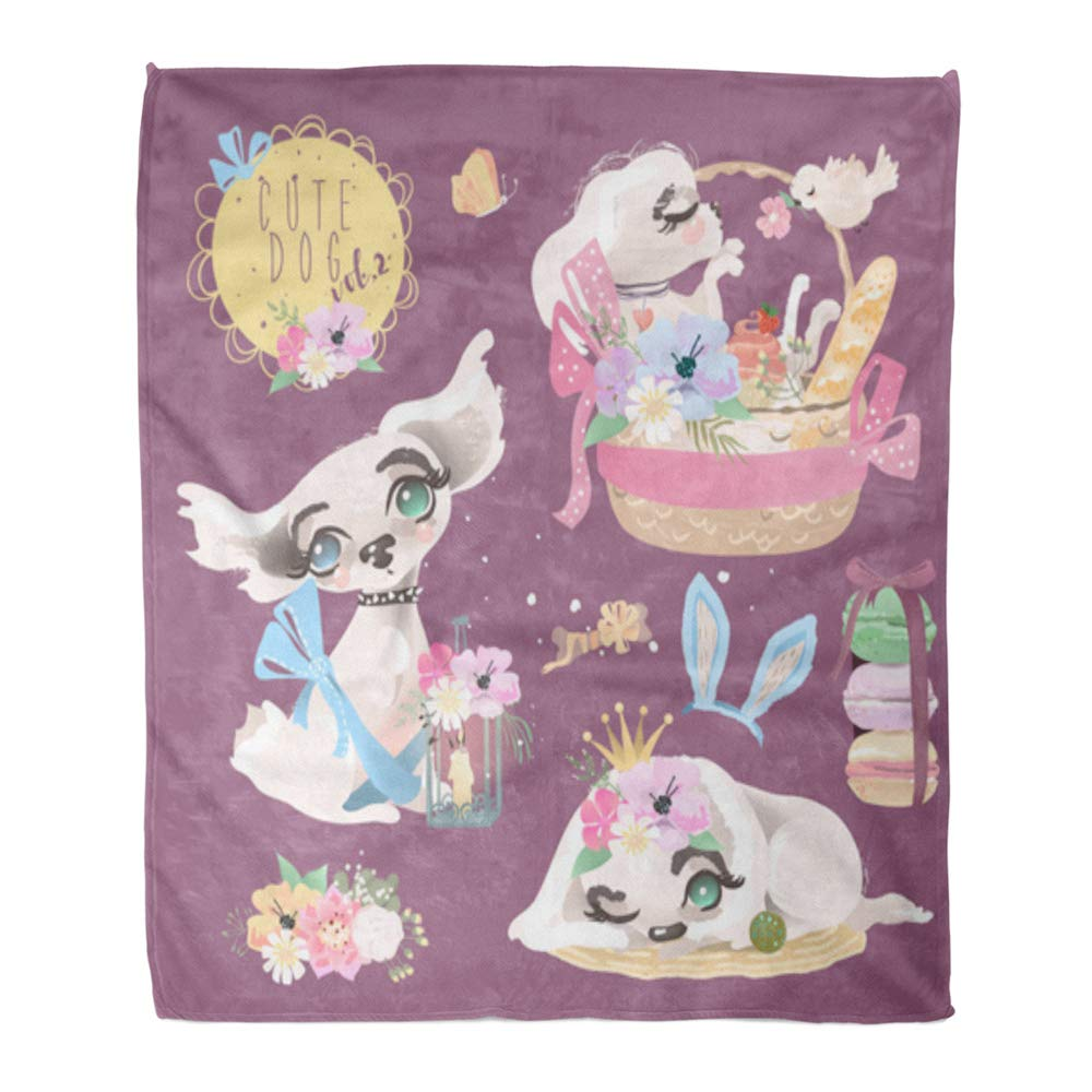 Multi 15 60\ Emvency Throw Blanket Warm Cozy Print Flannel Cute Baby Dog Puppy Collection Adorable Little Girl Princess Flowers Floral Comfortable Soft for Bed Sofa and Couch 50x60 Inches