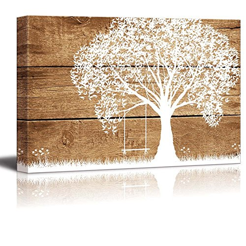 19414662a1b Vintage White Tree with Swing on Wooden Background Wood Grain Antique. Canvas  Art