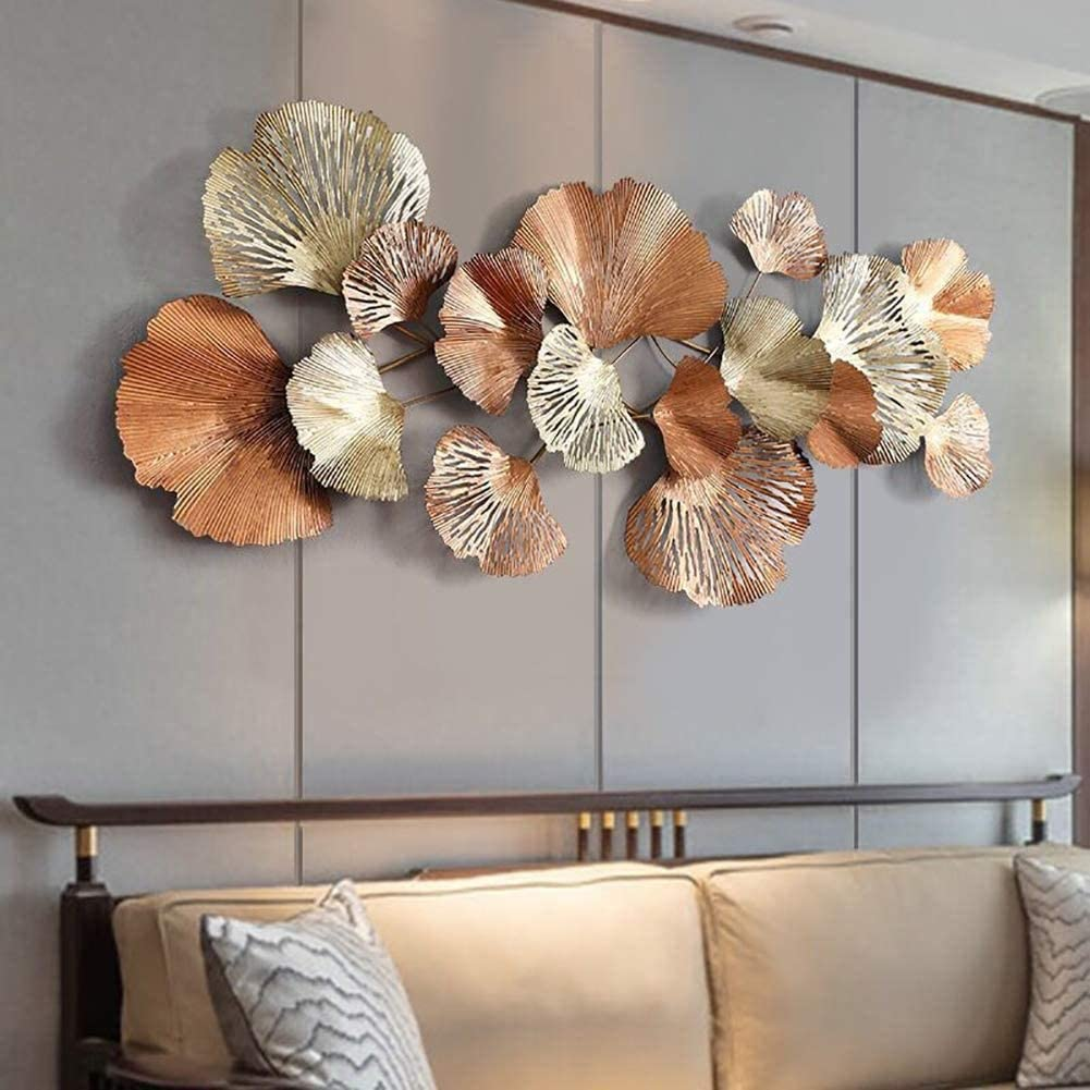 YAOLAN Metal Wall Art, Creative Handmade Golden Ginkgo Leaves Metal Wall Sculpture Decorative for Living Room Bedroom Office Wall Hangings, 136X62cm / 53X24inch