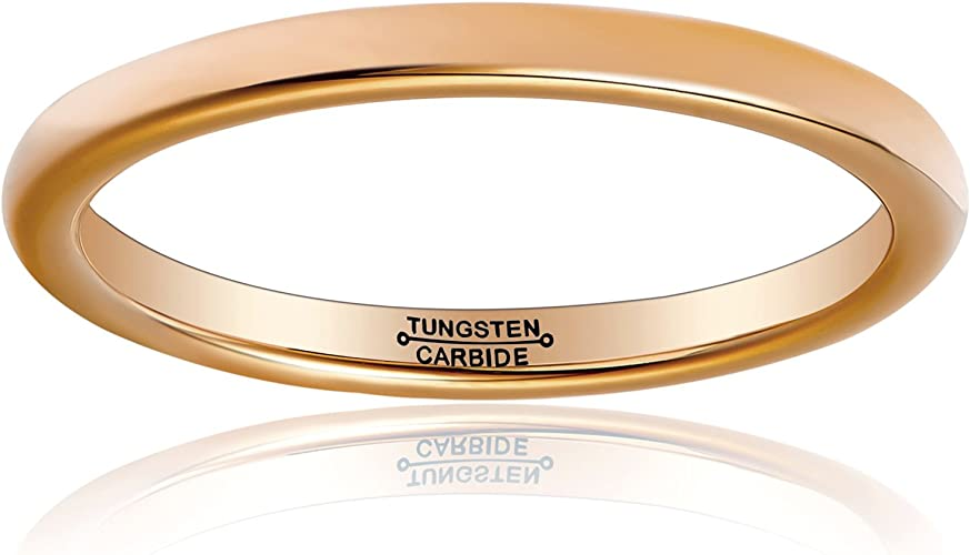 2mm Tungsten Carbide Classic Rose Gold Plated Domed Wedding Band Ring For Men Or Ladies